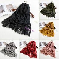 Women Elegant Lace Plain Cotton Shawl Scarf Hijab Sarong Wrap Cape Big Large