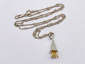 VINTAGE 9CT GOLD ON SOLID SILVER MODERNIST BALL CHAIN LADIES NECKLACE