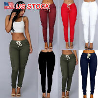 S-4XL Womens Cargo Pants High Waist Jogger Skinny Trousers Pockets Sweatpants US