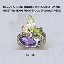 BAGUE RHODIE MARQUISE AMETHYSTE PERIDOTE OLIVE d'OXYDES Argent Massif 925