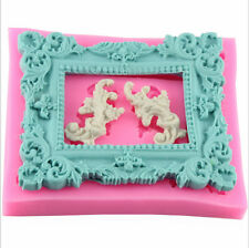 Vintage Rectangle Frame Silicone Mold Cake Decorating Fondant Clay Sugarcraft