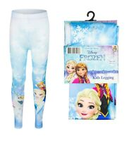 New Girls Frozen Elsa Anna Full Length Leggings Blue 2-9 Yrs Safe Oeko-tex Gift