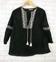 Sussan Top/Blouse Black, White Embroider Print Sz 8