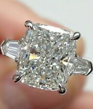 Cushion Moissanite Ring 3.50Ct Near White Engagement Wedding 925 Sterling Silver