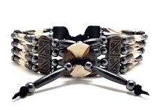 Handmade Traditional 4 Row Batik Buffalo Bone Hairpipe Tribal Choker Necklace