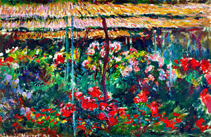 Peony Garden A1 by Claude Monet High Quality Canvas Print