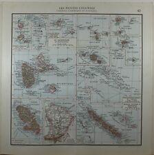 1929 ORIGINAL MAP ~ ANTILLES GUADELOUPE TAHITI ST PIERRE MIQUELON MARTINIQUE