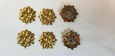 Beautiful Brass Rosette Lot Of 6 pcs.with Attached Nut for More Decorating Uses