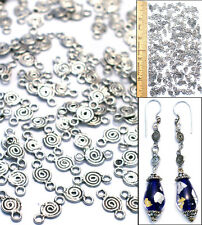 12mm Sterling Silver Pl Bali Style SPIRAL CONNECTOR Findings Beads 2-Loops 150p