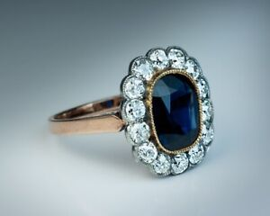 3CT Oval Cut Blue Sapphire Diamond Halo Vintage Engagement Ring 14K Rose Gold FN