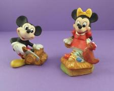 Mickey Mouse & Minnie Mouse c1970s Bisque Figurines - Walt Disney Productions