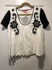 NWT Manoush Womens White Black Embroidered Lined Short Sleeves Blouse Top Large