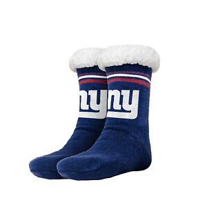 New York Giants Women's Stripe Logo Tall Footy Slippers - Size 6-10 Non Skid