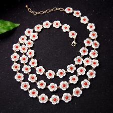 Collier Doré Multi Trois Rang Petit Fleur Email Rouge Blanc Retro Mariage JD2