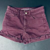American Eagle Sz 00 Burgundy Denim Hi-Rise Shortie Shorts Super Stretch Maroon