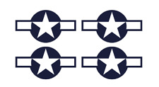 "Set of 4 Remote Control (RC3) Blue White Stars & Bar 5 1/2"" RC Airplane Stickers"