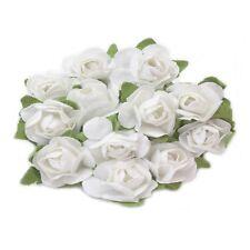 12 x 15mm Paper Rose Flowers – White