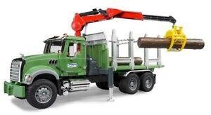 Bruder Mack Granite Timber Truck with Loading Crane and 3 Trunks 2824