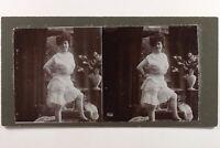 Donna IN Tenuta Leggera Modalità Artistico c1900 Foto Stereo Vintage Citrato