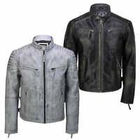 Mens Real Leather Antique Wash Retro Vintage Style Biker Jacket Slim Fit Bomber