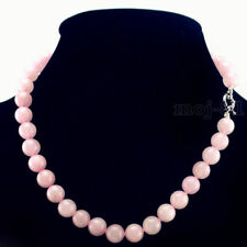 "Fashion Women's Natural 10mm Rose Quartz Round Gemstone Beads Necklace 18"" AAA"