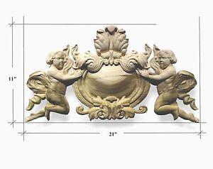 Hand Carved Hardwood Applique/onlay Angel Crest emblem