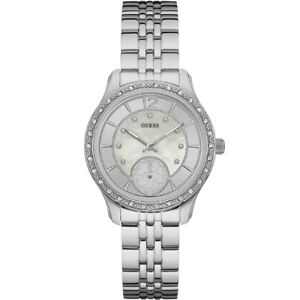 AUTHENTIC GUESS LADIES' WHITNEY WATCH SILVER TONE RRP:$399 W0931L1 Brand New