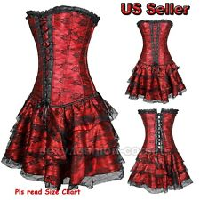 Women's Vintage Corset Top Bustier Overbust Gothic Lingerie Basque Elegant Dress