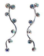 NEW 925 Sterling Silver Aurora Borealis Climber Crawler Crystal EarPin Earrings
