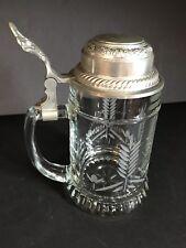 New listing Vintage~Bmfn~Cut Glass~Pewter Lid~Beer Stein/Mug~Wheat Pattern~W.Germany