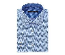 New SEAN JOHN Shirt 18 36/37 Print Blue Button Down Tailored Sapphire 2XL XXL