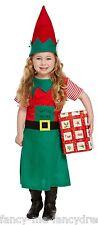 Toddler Girls Santas Helper Elf Christmas Xmas Fancy Dress Costume Outfit 3 yrs