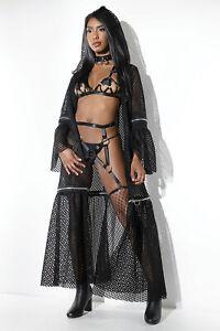 Fischnetz Mantel mit Reißverschlüssen Show Party Club schwarz Fishnet