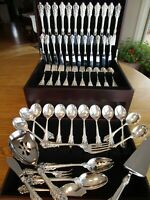 PERFECT WALLACE GRANDE BAROQUE STERLING FLATWARE SET S-12+SERVERS*80P+CHEST-MINT