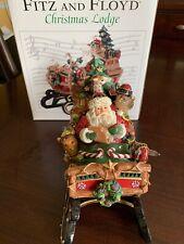 Fitz & Floyd Holiday Musicals Christmas Lodge Sleigh Music Box 19-115