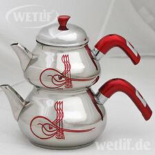 Türkischer Teekanne Set Caydanlik aus Edelstahl 2 Teekocher