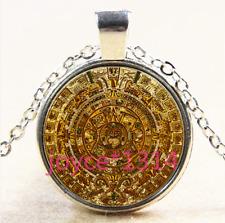 Aztec calendar Cabochon Tibetan silver Glass Chain Pendant Necklace #4098