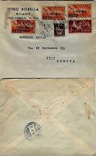 REPUBBLICA-6 lire Posta Aerea+15 lire Espresso(135+EX27)Milano 1.9.1947