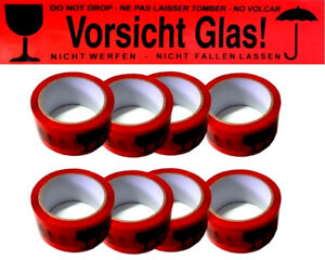 6 x V48 Paketband 66m Vorsicht Glas Rot Zerbrechlich Klebeband Karton Packband