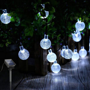 SOLAR POWERED String Lights LED Retro Bulb Garden Fairy Ball Hangin Lamp Outdoor