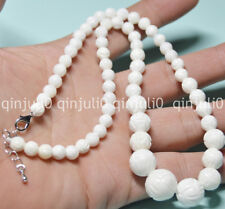 "6-14mm White Carving Coral Gemstone Round Beads Necklaces 18"" JN584"