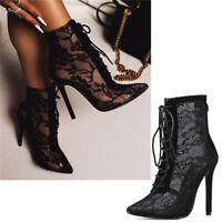 Sexy Womens Gauze Sandals High Heels Pointed Toe Lace Up Shoes Ankle Boots Party