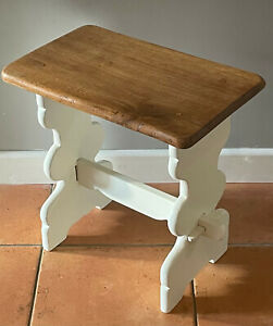 Small Up Cycled Oak and Cream Side Table Lamp Table