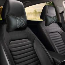 Protech Car seat Headrest neck pillow Cushion Leather 2pc Bk/White