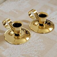 Vintage Metal Glow Gold  Candle Stick Holder Set Of 2 made in USA