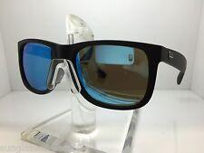 RAYBAN Sunglasses RB 4165 622/55 55MM JUSTIN RUBBER BLACK/BLUE MIRROR LENS