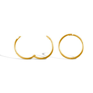 9ct Yellow Gold Plain Cut Hinged Sleeper Hoop Earrings 12mm Single or Pair