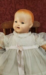 Antique 1920s Baby Doll Composition/Cloth Life Size Large Flirty Sleep Tin Eyes