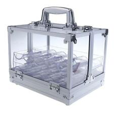Transparent Empty Acrylic Carrier Poker Chips Storage Box Case with 6 Racks