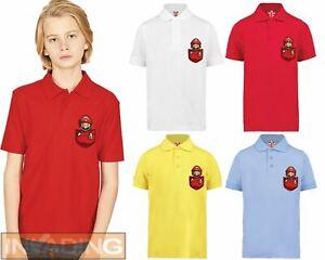 Super Mario Pocket Cartoon Polo T-Shirt, Gamming Retro Children Kids Ideal Gift